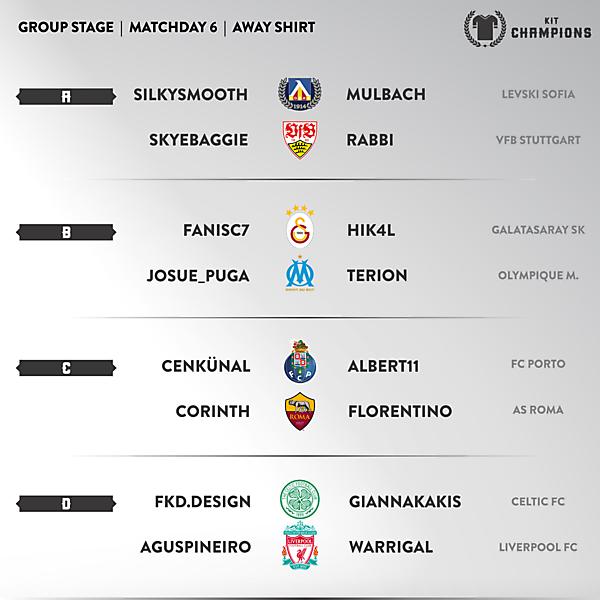 Kit Champions - matchday 6