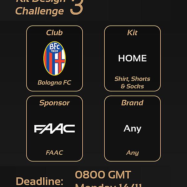 Kit Design Challenge: 3 - Bologna FC Home Kit