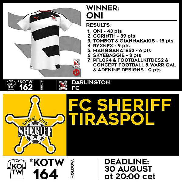 KOTW 162 RESULTS - DARLINGTON FC     KOTW 164 - FC SHERIFF TIRASPOL