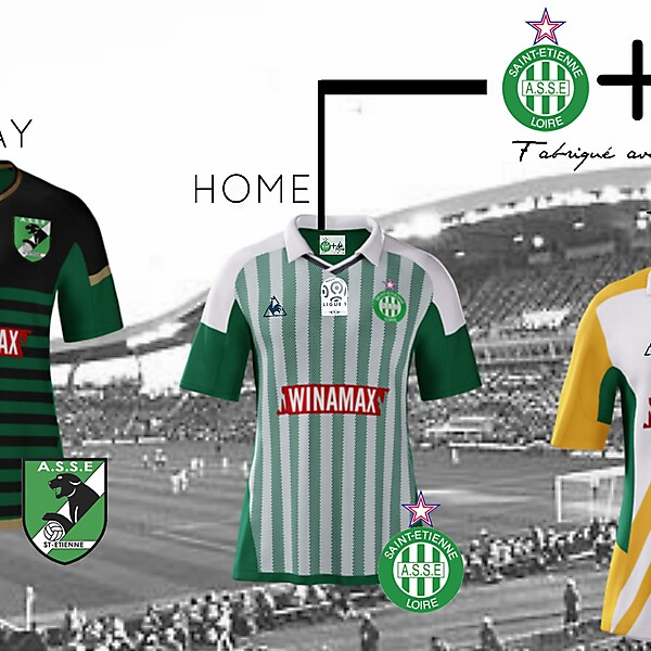 Saint Etienne (Home, Away, Third Kits)