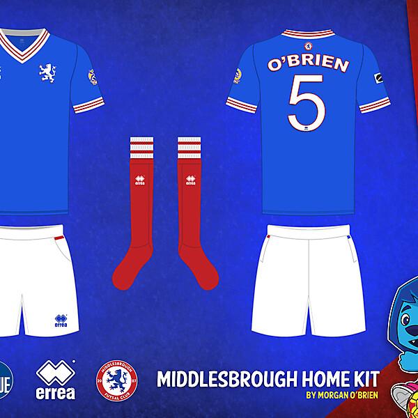 Middlesbrough Home Kit 008 Variant Vintage Crest by Morgan OBrien