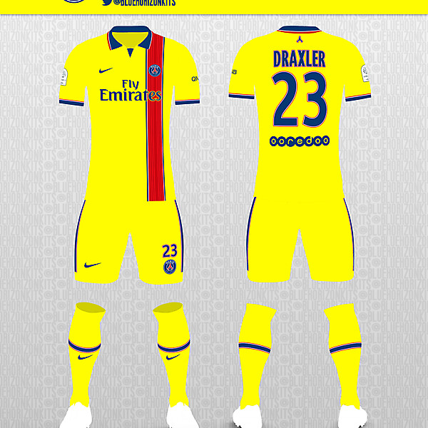 PSG Yellow Away Kit