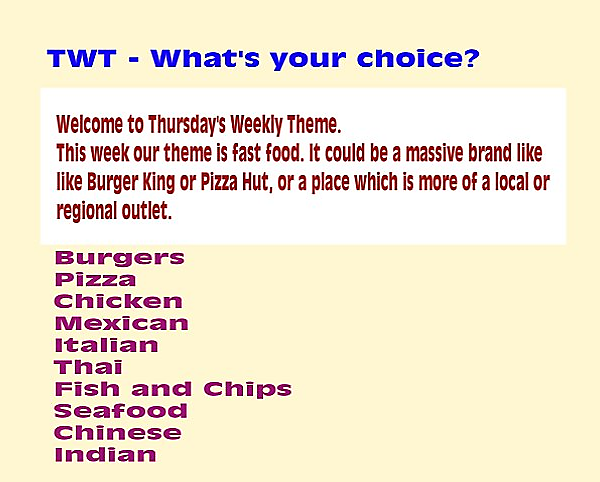 TWT - Fast food and takeaways.