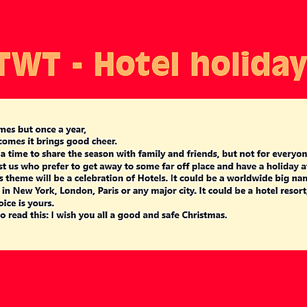 TWT - Hotel holiday