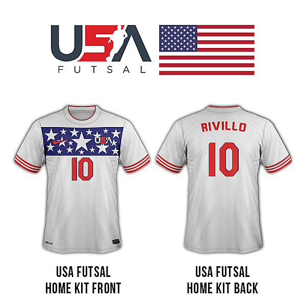 USA futsal home kit (front and back)