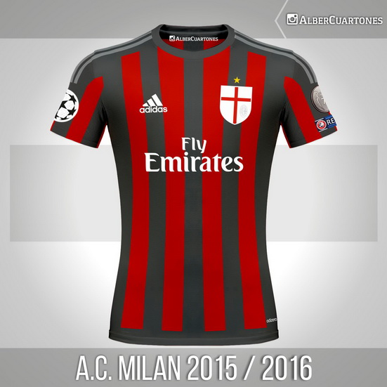 A.C. Milan 2015 / 2016 Home Shirt (according to leaks)