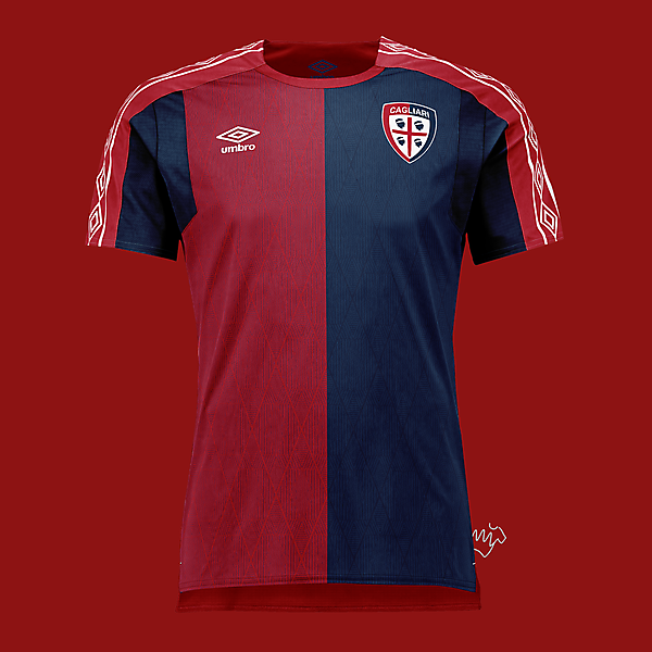 Cagliari home kit by Umbro