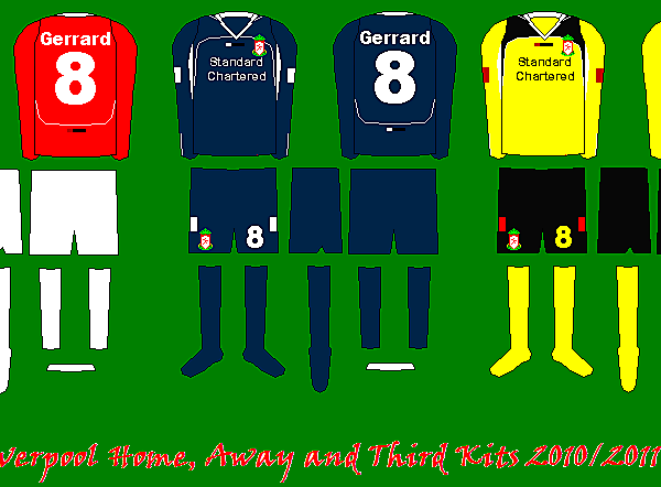 Liverpool Home, Away and Third Kits 2010/11 Lotto