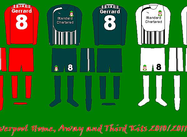 Liverpool Home, Away and Third Kits 2010/11 Reebok