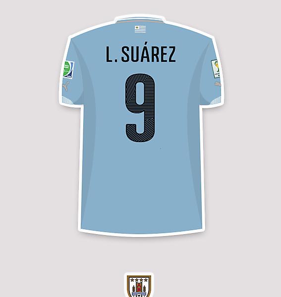 Luis Suárez (Uru) 2014 WC shirt.