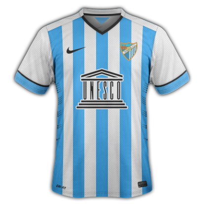 Malaga Home kit for 2014/15 with Nike