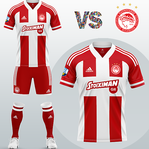 Olympiacos FC Home kit with Adidas (2020/21)