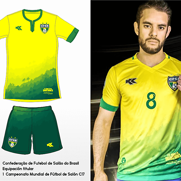 Seleçao Brasileira Futsal. C17 AMF World Cup Home kit