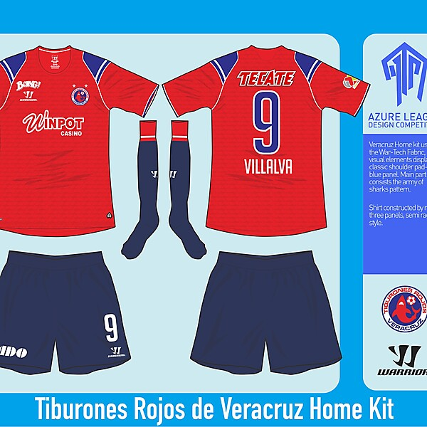 Tiburones Rojos de Veracruz Home Kit - Azure League Matchday 1