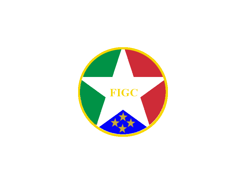 Italy football crest based on the national flag and coat of arms